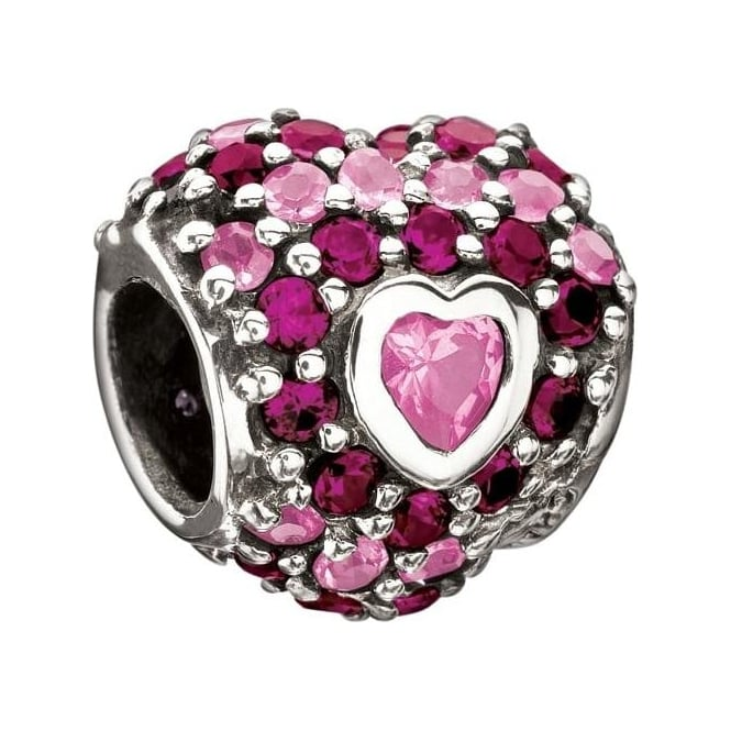 Chamilia Jewelled Heart in Heart Pink Charm 2025-0674