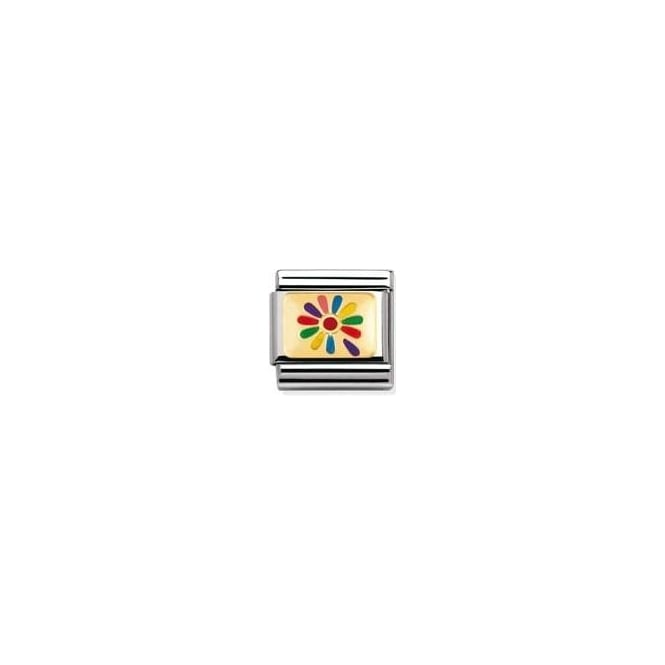 Nomination Classic Gold Rainbow Flower Charm - 03027010