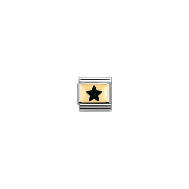 Nomination Classic Gold Black Star Charm - 03020908