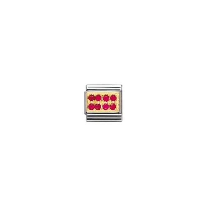 Nomination Classic Gold Red Pave Charm - 03031402