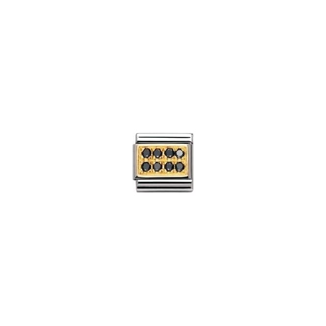 Nomination Classic Gold Black Pave Charm - 03031410
