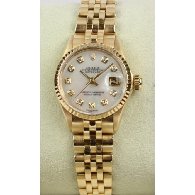 Pre-Owned Rolex Ladies 18ct Yellow Gold Datejust with Custom Diamond Set Mother of Pearl Dial 6517 AFTER MARKET CUSTOMISATION