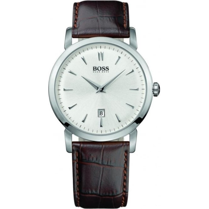 Hugo Boss Mens Brown Leather Strap Watch 1512636