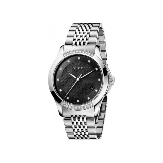 timeless watches g dial water resistant gucci dp black date watch