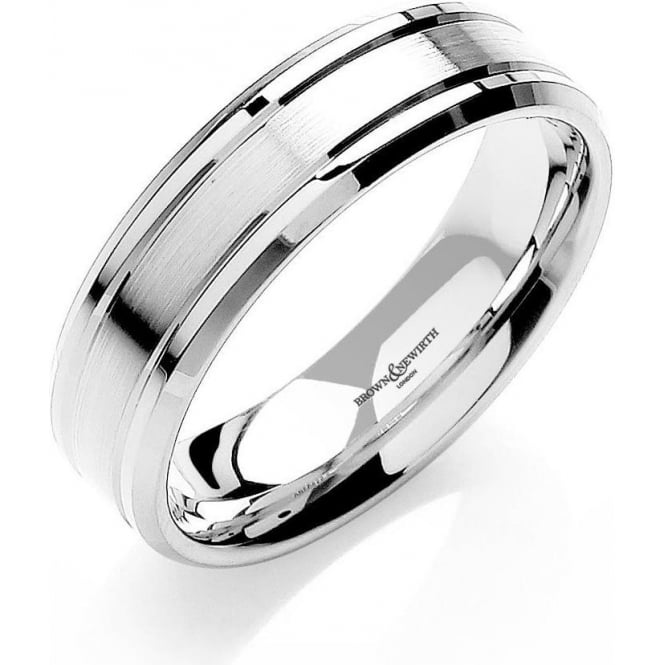 Brown & Newirth Catalogue Mens 9ct White Gold Wedding Ring