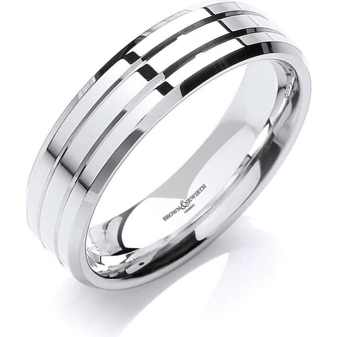 Brown & Newirth Catalogue Mens 18ct White Gold 6mm Wedding Ring
