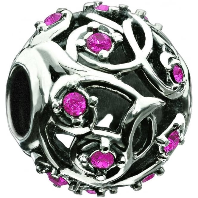 Chamilia Leaves and Vines Fuchsia Swarovski Charm 2025-0787