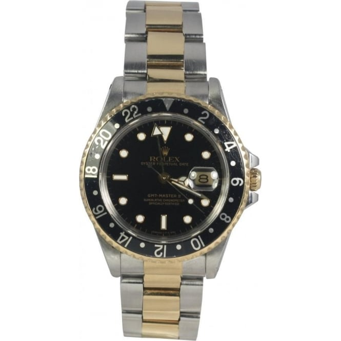 Pre-Owned Rolex Mens Steel and Gold GMT-Master II Watch 16713