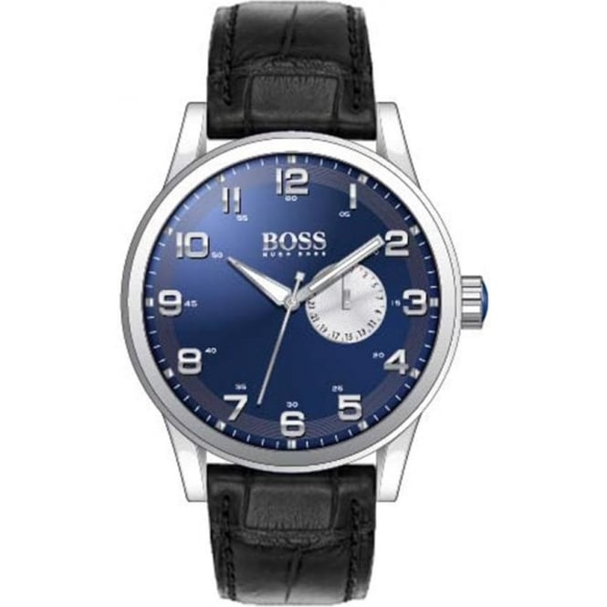 Hugo Boss Mens Black Leather Strapped Watch 1512790