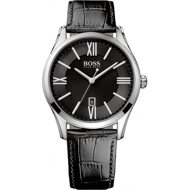 Hugo Boss Mens Black Leather Strapped Watch 1513022