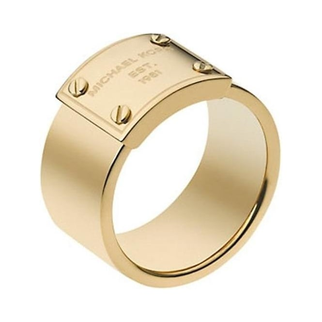 Michael Kors Jewellery Gold Logo Plaque Ring