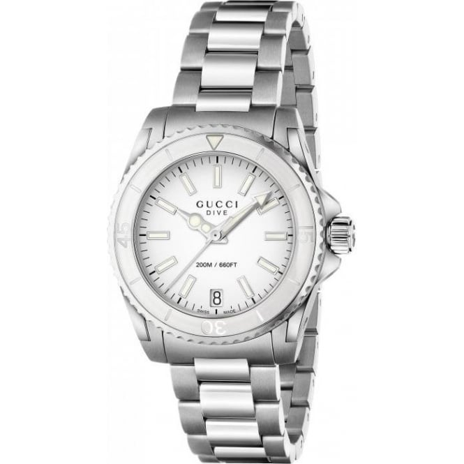 Gucci Dive White Dial Stainless Steel Watch YA136402
