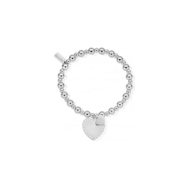 ChloBo Jewellery Mini Small Ball Double Heart Bracelet - SBMSB019024