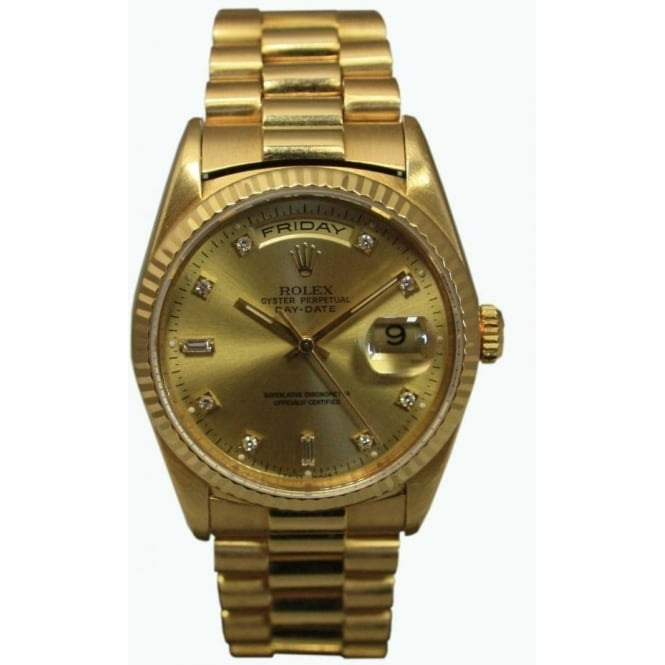 Pre-Owned Rolex Men's 18ct Yellow Gold Day-Date