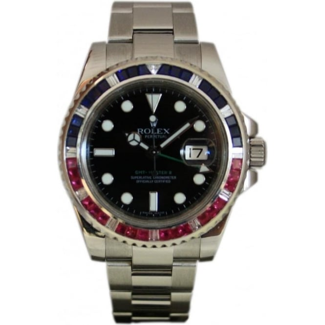 Pre-Owned Rolex Men's GMT Master II , Customised Diamond, Sapphire and Ruby Bezel.