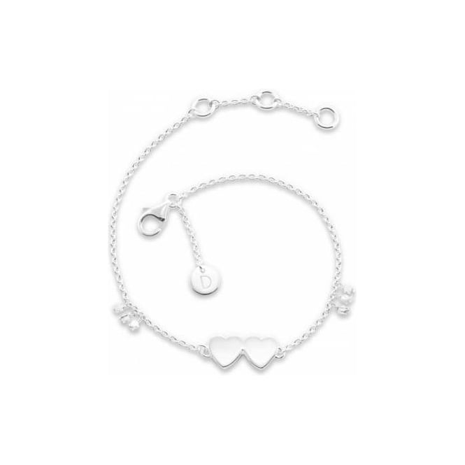 Daisy London Double Heart Good Karma Silver Chain Bracelet