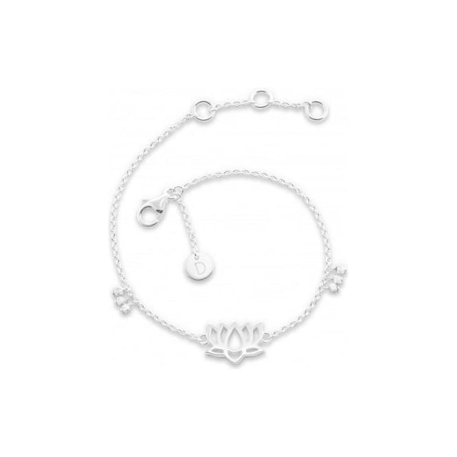Daisy London Silver Good Karma Lotus Bracelet