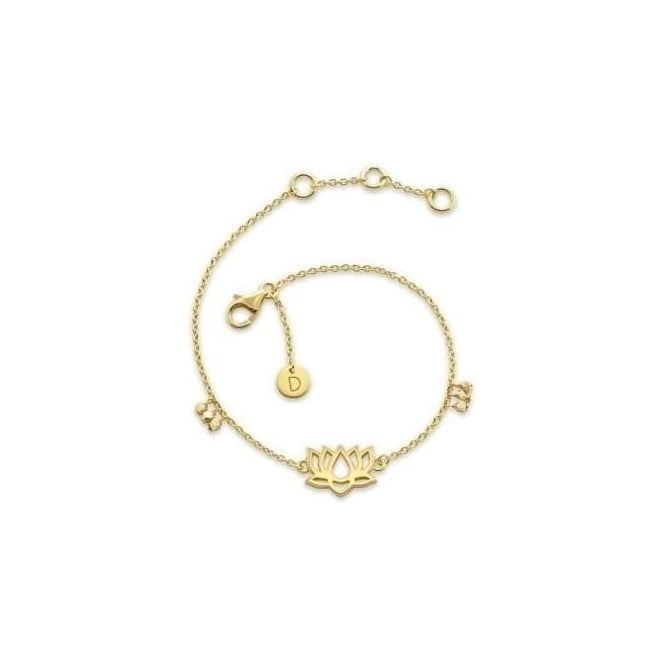 Daisy London Good Karma 18ct Gold Plate Lotus Bracelet