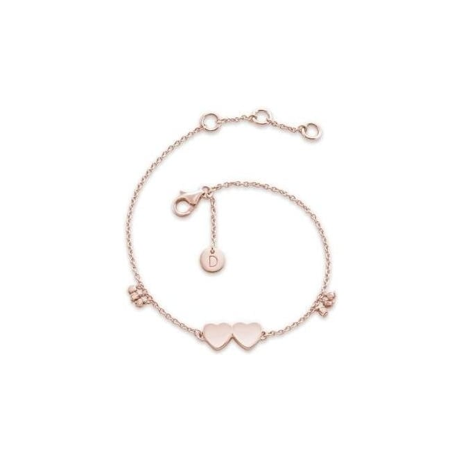 Daisy London Double Heart Good Karma Rose Gold Chain Bracelet