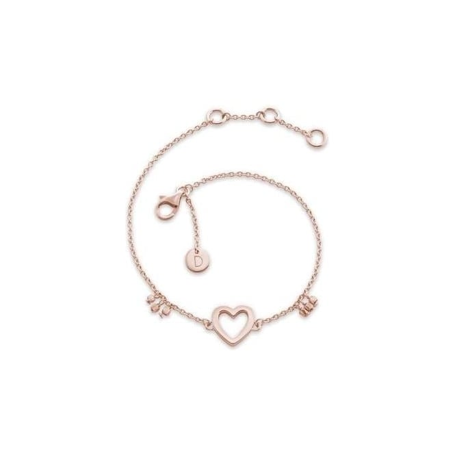 Daisy London Open Heart Good Karma Chain Bracelet Rose Gold