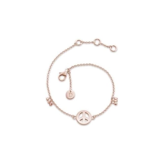 Daisy London Peace Sign Karma Chain Bracelet Rose Gold