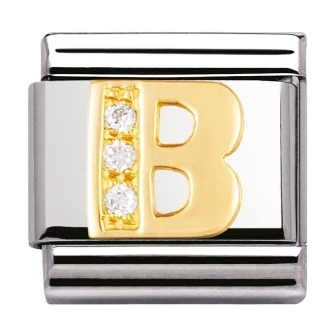 Nomination Classic Gold Letter B Crystal Charm - 03030102