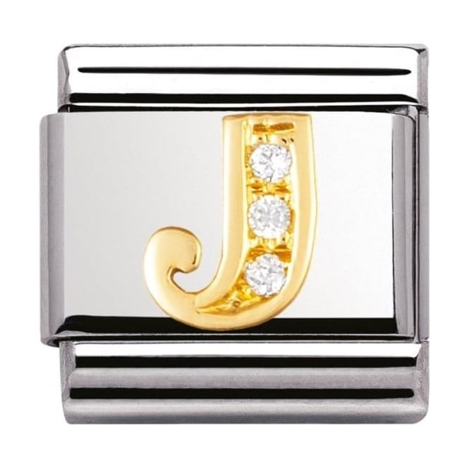 Nomination Classic Gold Letter J Crystal Charm - 03030110