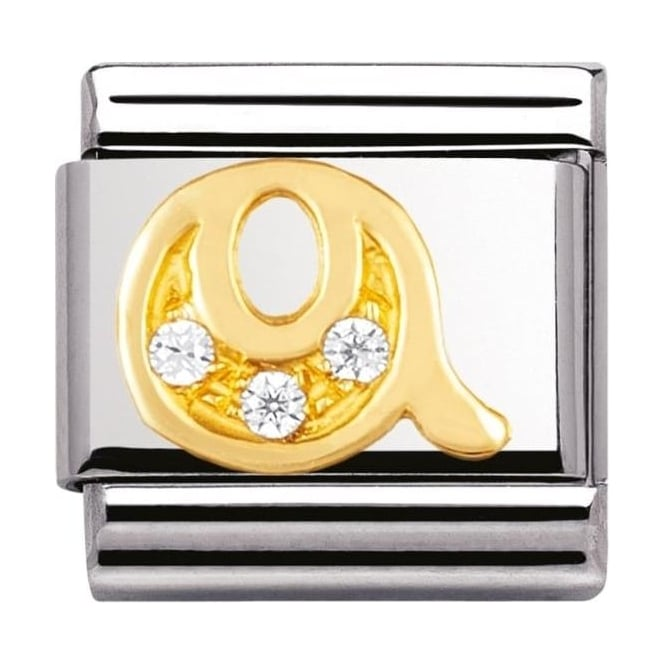 Nomination Classic Gold Letter Q Crystal Charm - 03030117