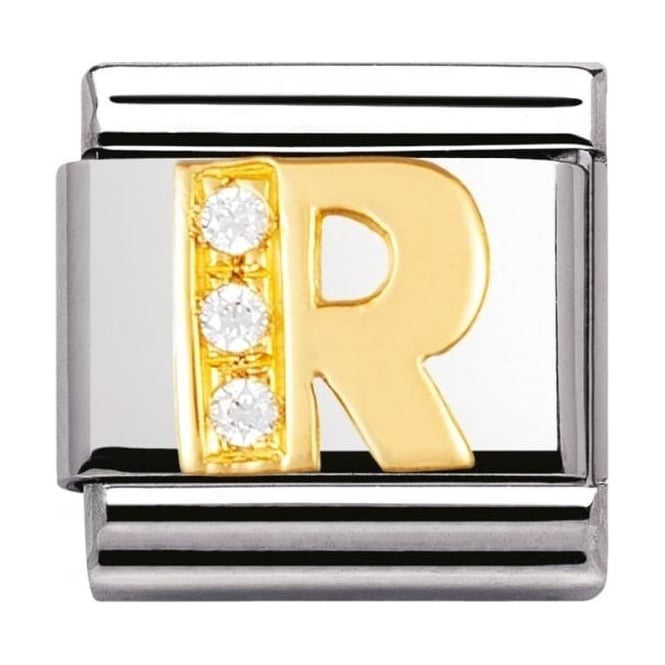Nomination Classic Gold Letter R Crystal Charm - 03030118