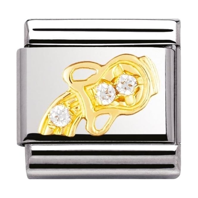 Nomination Classic Gold Crystal Zodiac Aquarius Charm - 03030211