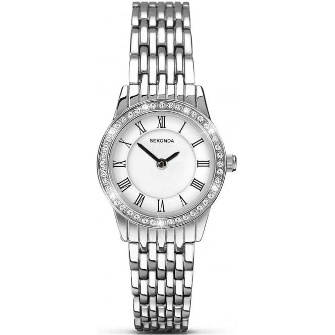 Sekonda Ladies Steel Stone Set Watch 2151