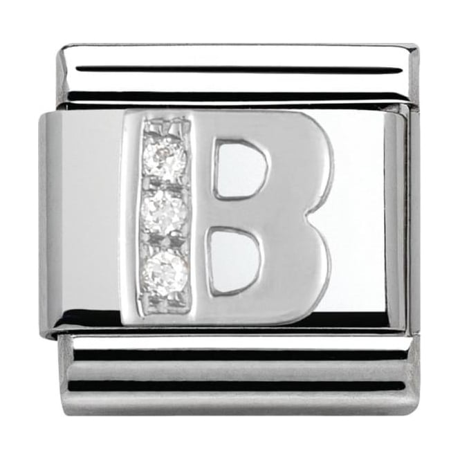 Nomination Classic Silver Letter B - Crystal
