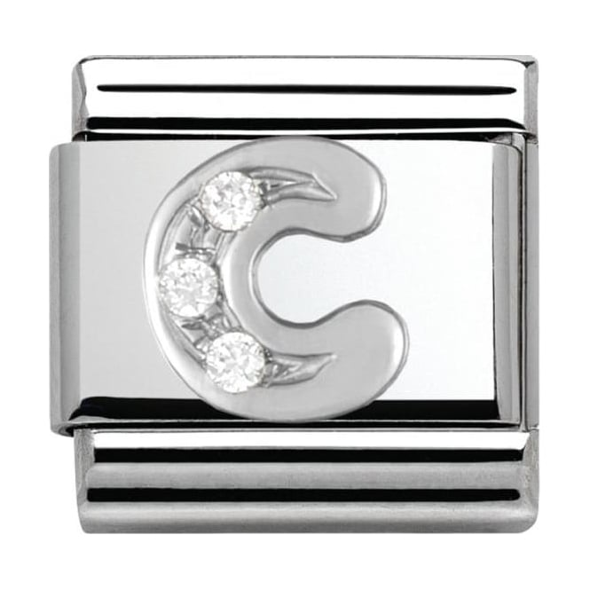 Nomination Classic Silver Letter C - Crystal