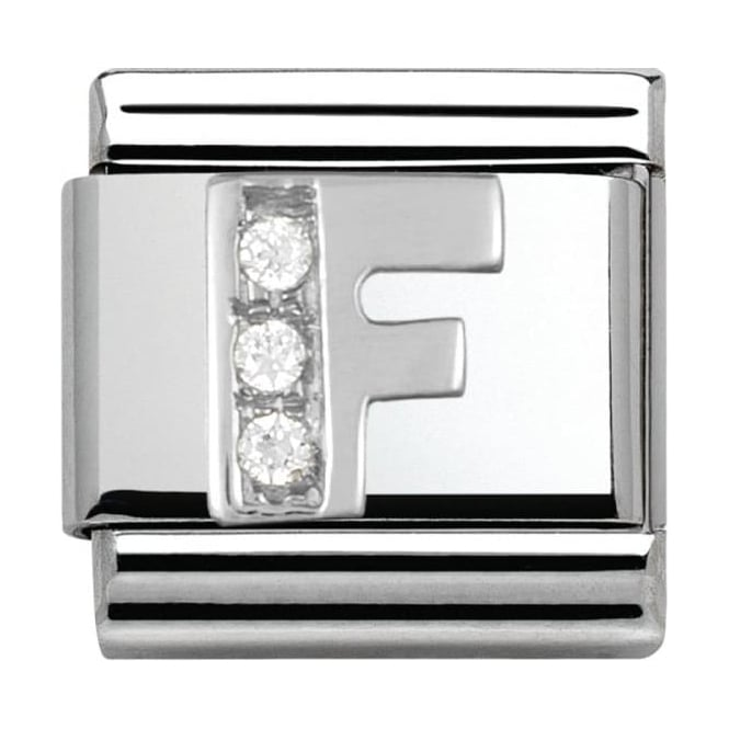 Nomination Classic Silver Letter F - Crystal