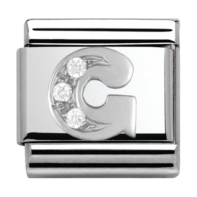 Nomination Classic Silver Letter G - Crystal