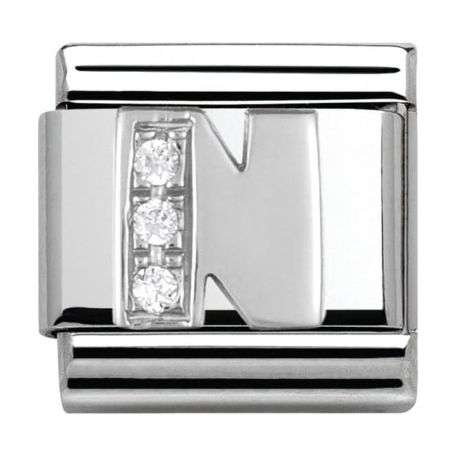 Nomination Classic Silver Letter N - Crystal