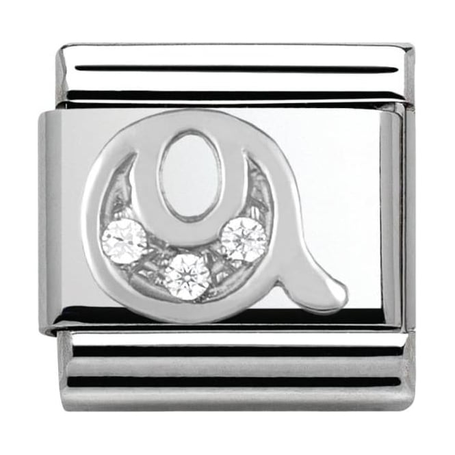 Nomination Classic Silver Letter Q - Crystal