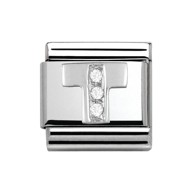 Nomination Classic Silver Letter T - Crystal