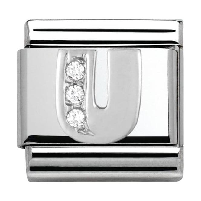 Nomination Classic Silver Letter U - Crystal