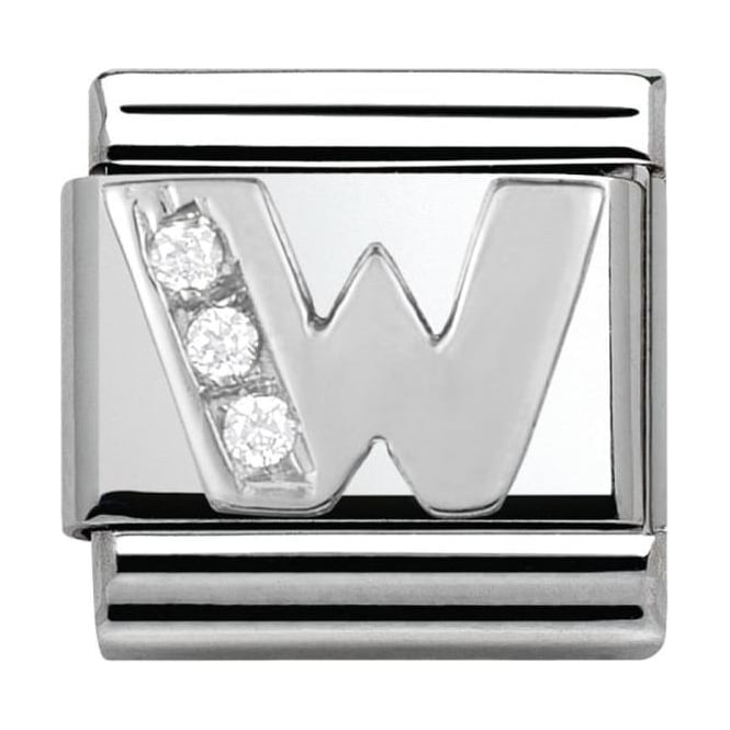 Nomination Classic Silver Letter W - Crystal