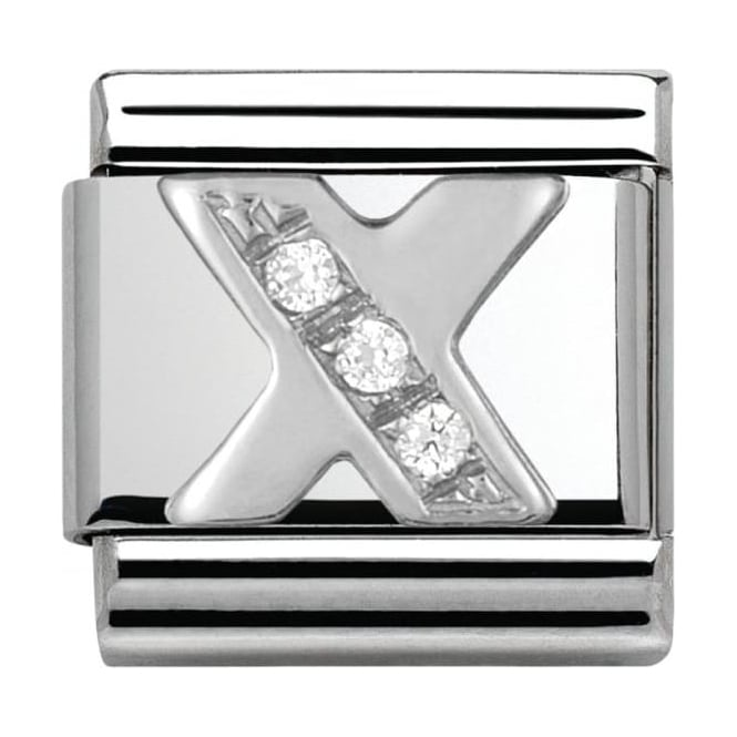 Nomination Classic Silver Letter X - Crystal