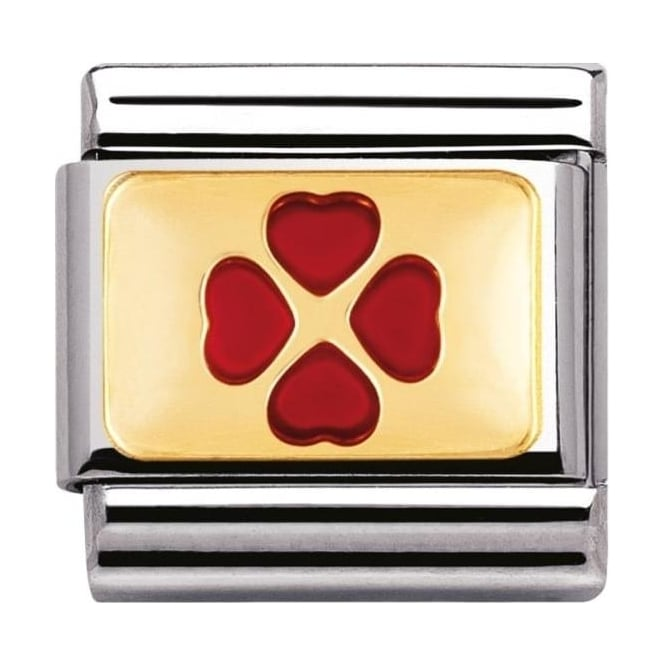 Nomination Classic Gold Red Four Leaf Clover - 03020502