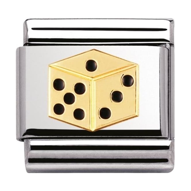 Nomination Classic Gold And Enamel Dice Charm