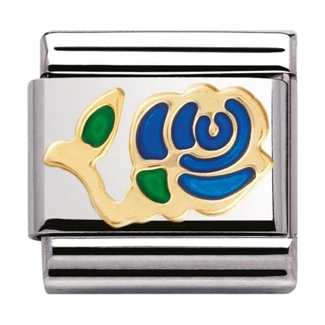 Nomination Classic Gold And Enamel Blue Rose Charm