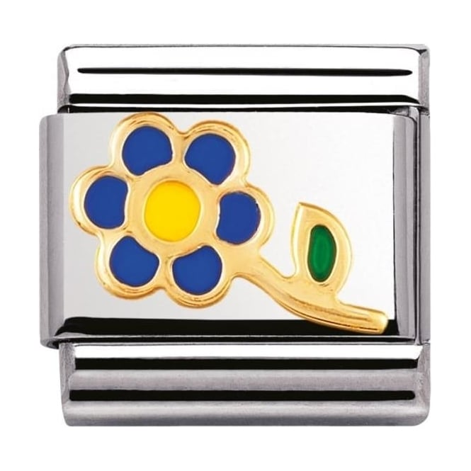 Nomination Classic Gold and Enamel Blue and Yellow Flower Charm