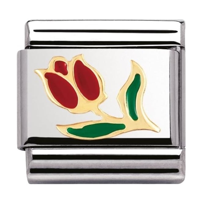 Nomination Classic Gold and Enamel Tulip Charm