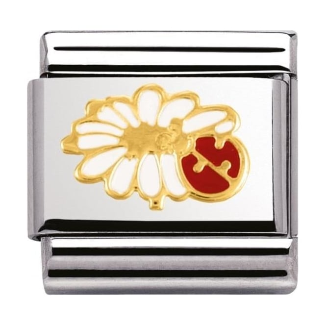 Nomination Classic Gold Lady Bug Flower Charm - 03027802