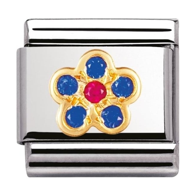 Nomination Gold and Cubic Zirconia Blue and Red Flower Charm