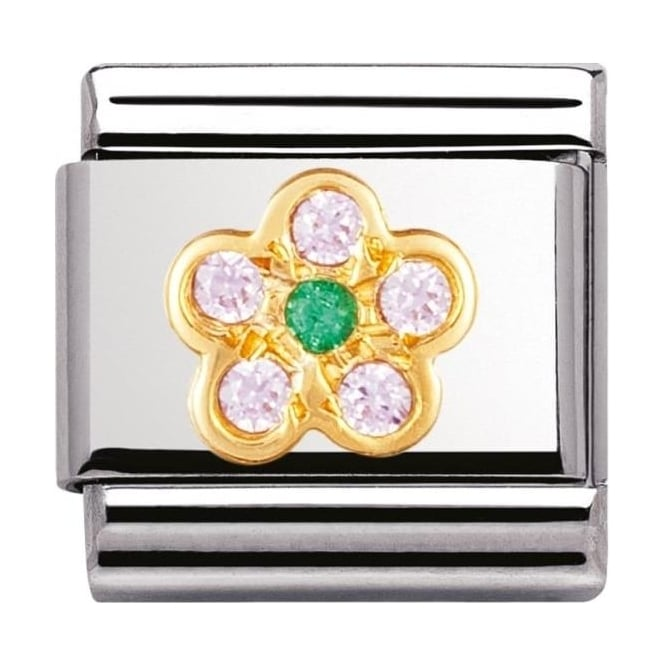 Nomination Classic Gold and Cubic Zirconia Pink and Green Flower Charm
