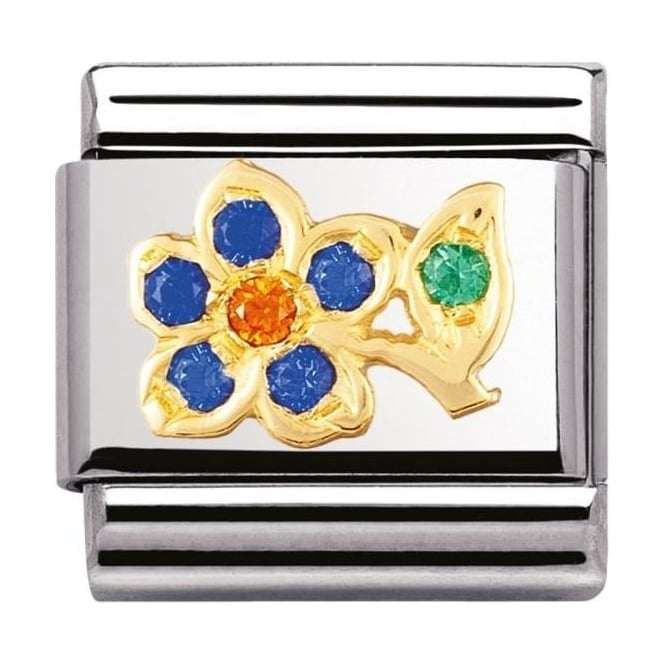 Nomination Classic Gold Blue And Orange Flower Charm - 03031801